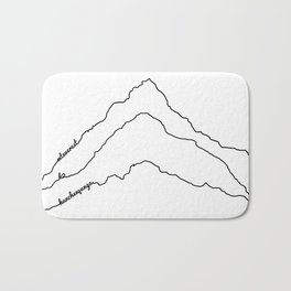 Tallest Mountains in the World B&W / Mt Everest K2 Kanchenjunga / Minimalist Line Drawing Art Print Bath Mat