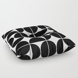 Mid Century Modern Geometric 04 Black Floor Pillow