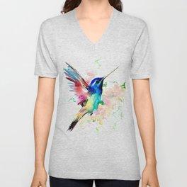 Hummingbird , Blue Turquoise Pink Unisex V-Neck