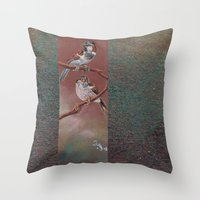 sparrow Throw Pillows featuring Sparrow by Ju.jo.weh