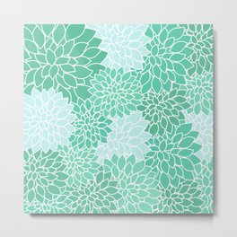 Minty Green Dahlias Metal Print