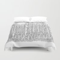 birch Duvet Covers featuring Birch Trees Black and White Illustration by Vermont Greetings