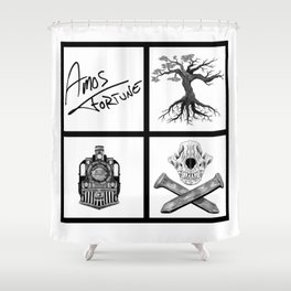 Amos Fortune Folklore Grid Shower Curtain