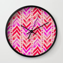 Tribal Scribble Kilim in Neon Coral + Neutral Wall Clock