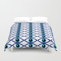 evil eye Duvet Covers featuring Evil Eye Large Print by MY  HOME