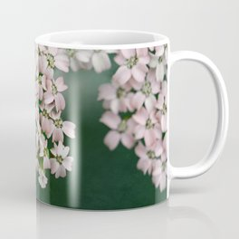 Blush Pink Flowers on Emerald Green Coffee Mug