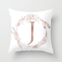Letter J Rose Gold Pink Initial Monogram Throw Pillow