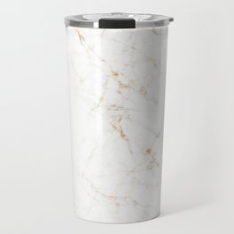 White Marble with Delicate Gold Veins Travel Mug