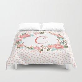 Monogram C - cute girls coral florals flower wreath, coral florals, baby girl, baby blanket Duvet Cover