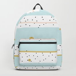 Seamless Pattern Baby Blue and Pink stripes with Black confetti Backpack