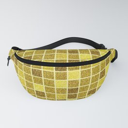Gold glitter mosaic, geometric gold sparkle abstract pattern Fanny Pack