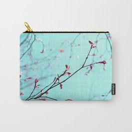 Pink Spring Flowers on Aqua Blue Green Sky Carry-All Pouch