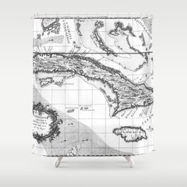 Vintage Map of Cuba and Jamaica (1763) BW Shower Curtain