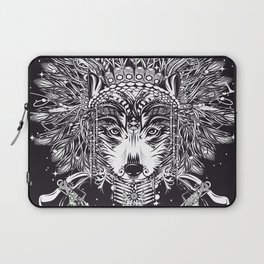 Chief wolf with crossed tomahawks Laptop Sleeve