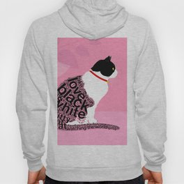 Typographic black and white kitty cat portrait on pink 2 #typography #catlover Hoody
