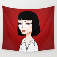 tarantino Wall Tapestries featuring Mia Wallace by Pendientera