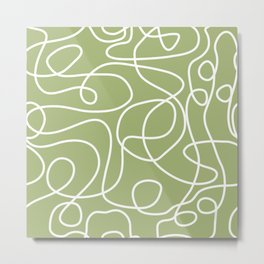Doodle Line Art | White Lines on Spring Green Metal Print
