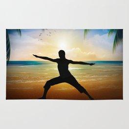 Yoga on beach Rug
