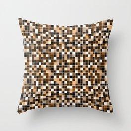 Beige, white, black, brown mosaic. Throw Pillow