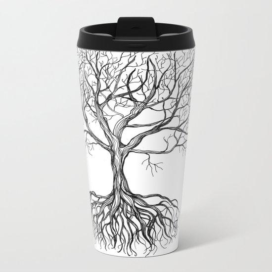 Bare tree with root Metal Travel Mug