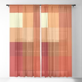 BLOCKS - RED TONES - 1 Sheer Curtain
