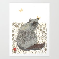 CAT, SEIGAIHA Art Print