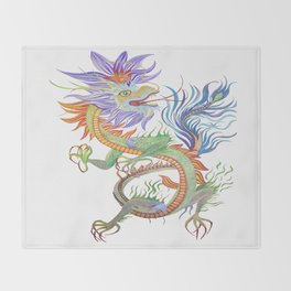 Bright and Vivid Chinese Fire Dragon Vector Throw Blanket