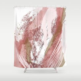 Sugar and Spice: a minimal, abstract mixed-media piece in pink and brown by Alyssa Hamilton Art Shower Curtain