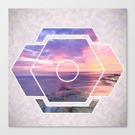 Purple Beach Sunset Futuristic Shape Canvas Print