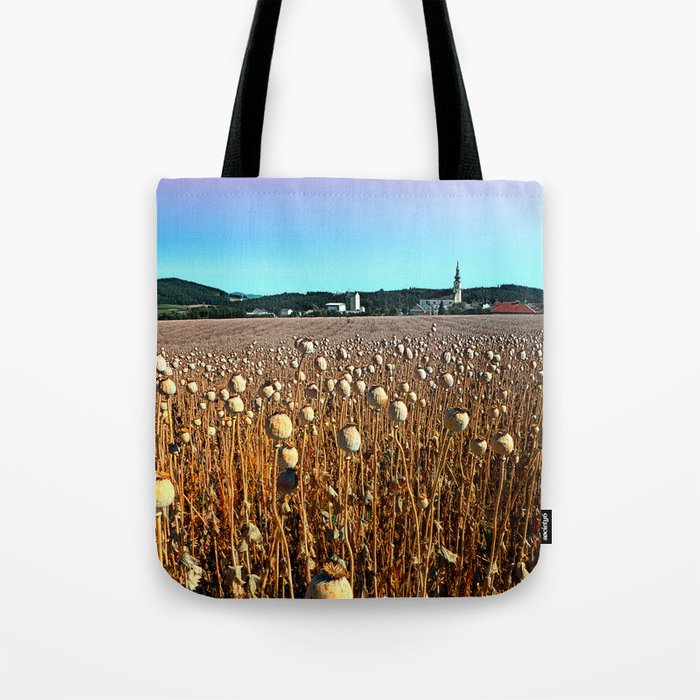 Poppy fields with a sunburn Tote Bag