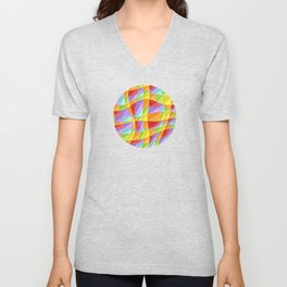 Groovy Rainbow Plaid Unisex V-Neck
