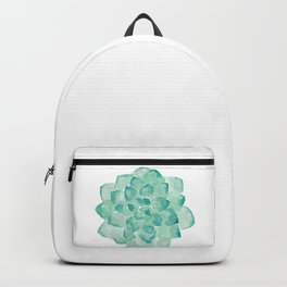 Watercolor Succulent print in seafoam green Backpack