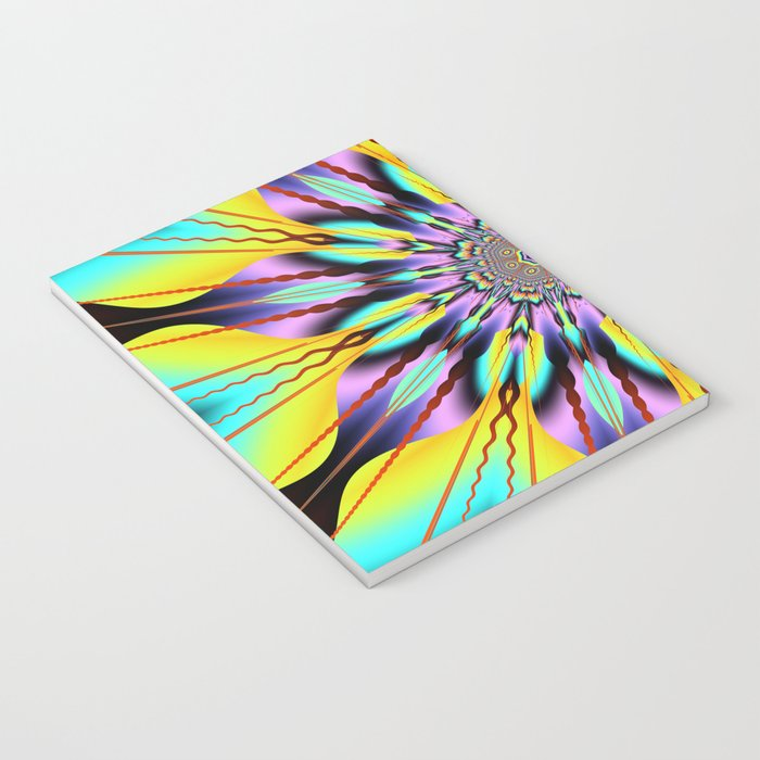 Fantasy sunflower with wavy rays and patterns Notebook