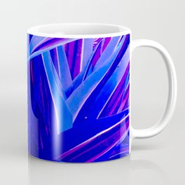 Exotic, Lush Fantasy Blue and Neon Pink Leaves Coffee Mug