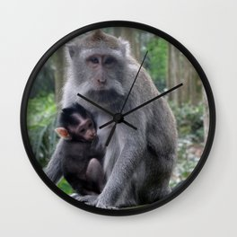 Monkey with baby in Malaysia Wall Clock