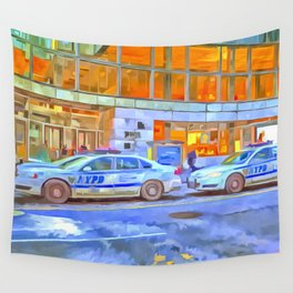 New York Police Department Pop Art Wall Tapestry