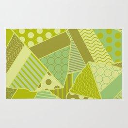 Graphic Leaf Patchwork (Spring Green Bold Colors) Rug