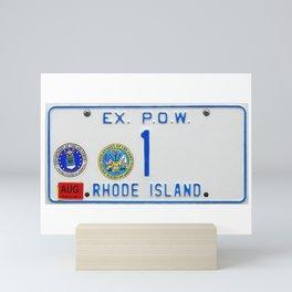 Rhode Island License Vanity Plate No. 1 Ex. POW - Ocean State photographic portrait Mini Art Print