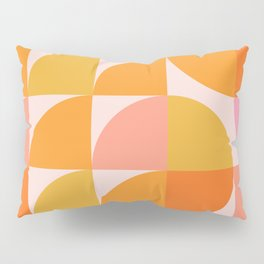 Mid Century Mod Geometry in Pink and Orange Pillow Sham