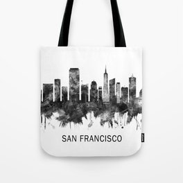 San Francisco California Skyline BW Tote Bag