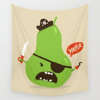 pear Wall Tapestries featuring Pear-ate a.k.a The Angry Pirate by Picomodi