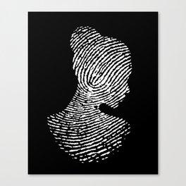 Fingerprint Silhouette Portrait Canvas Print