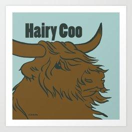 Scottish Hairy Coo (Blue) Art Print