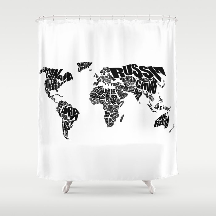 World Word Map   Black And White Shower Curtain