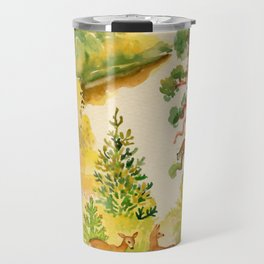 Watercolor Autumn Scene Travel Mug