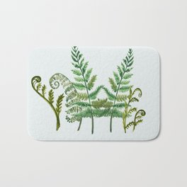 Fern Collage with Light Blue Gray Background Bath Mat