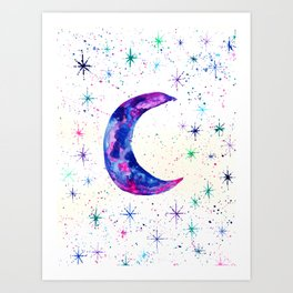 Dreamy Crescent Moon Phase Art Print