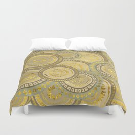Circular Ethnic  pattern pastel gold and beige Duvet Cover