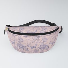 Hummingbird Garden (Ink Blue and Rosa) Fanny Pack