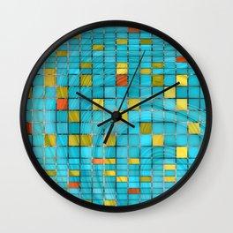 Block Aqua Blue and Yellow Art - Block Party 2 - Sharon Cummings Wall Clock